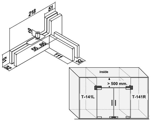 T-141L PSS Фитинг угловой с осью и ребром жесткости левостороний комплект
