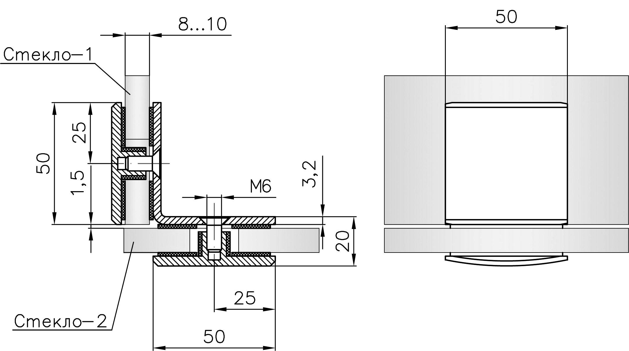 T-735S PC Коннектор стекло - стекло