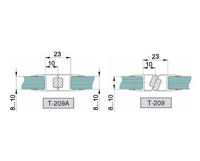 T-209 8mm L=2500mm Профиль магнитный