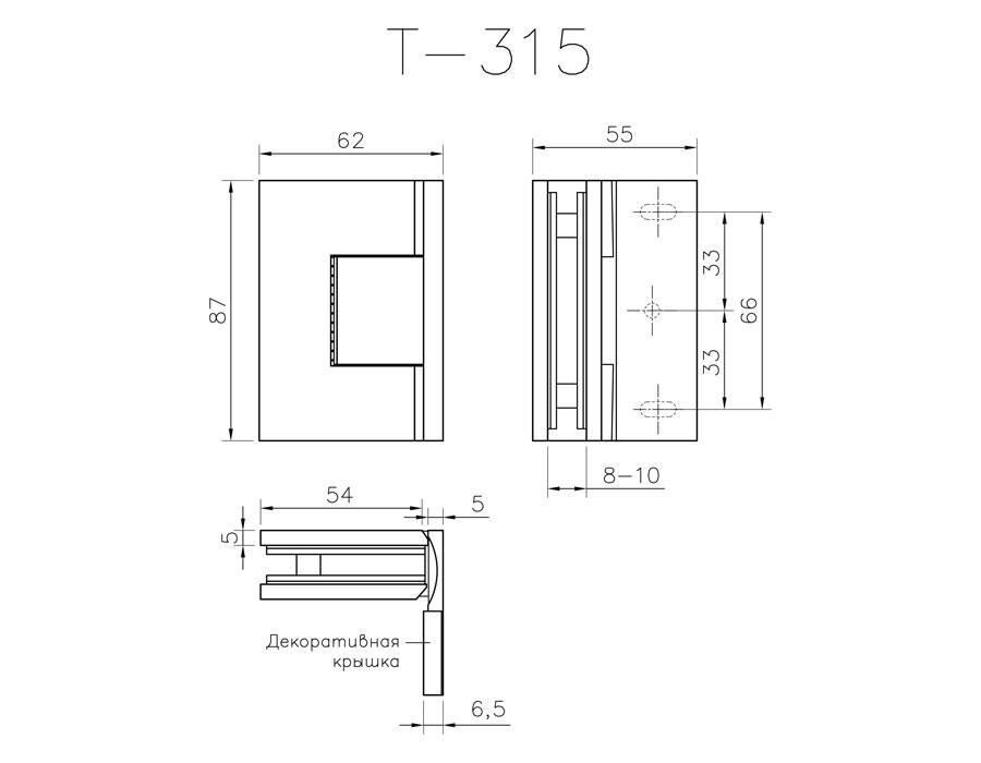 T-315R PC Петля стена - стекло с регулируемым 0 положением одностороннее крепл.