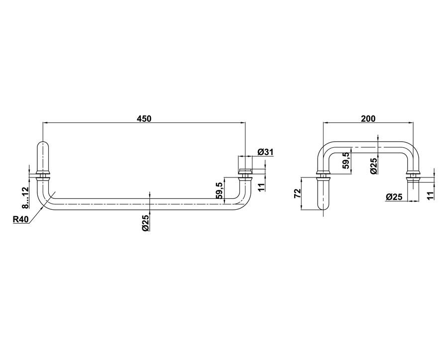 T-626 25x200х450 TP Ручка комплект