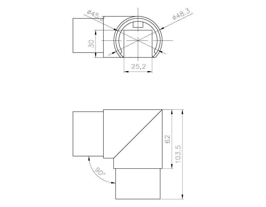 T-104-3 SSS Переход угловой 90 гр. (D48,3mm)