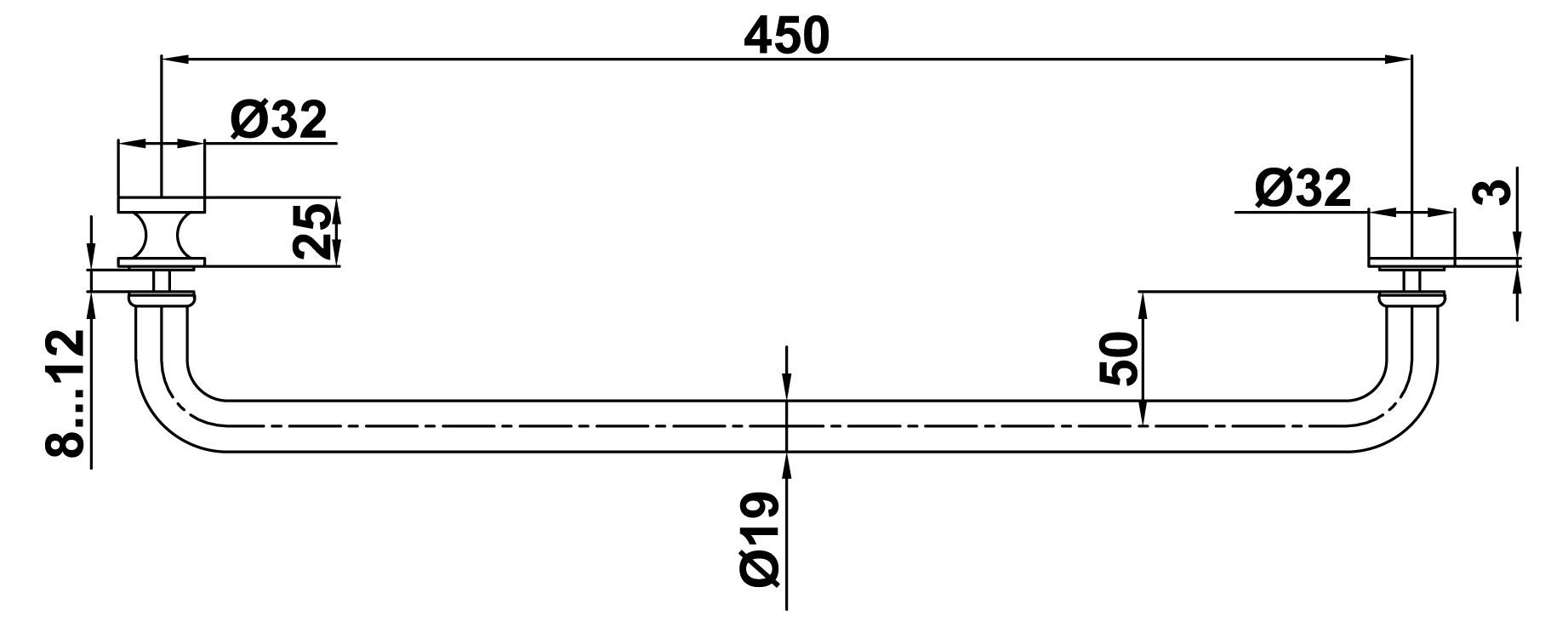 T-621 19x450 SSS Ручка комплект с полотенцесушителем