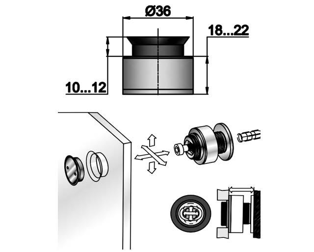TT-506 SSS Точечное крепление регулируемое 18-22mm