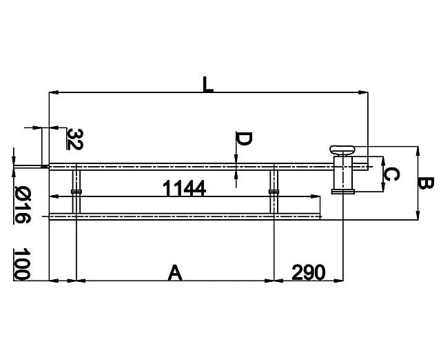 482В-2 25*850*290*1340 SSS  Ручка с замком (защелка + кнопка)