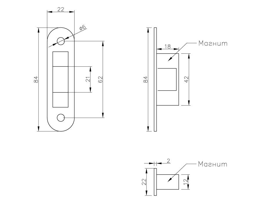 TI-87-1М WC AL  Ответная часть на стену  (Магнитная)