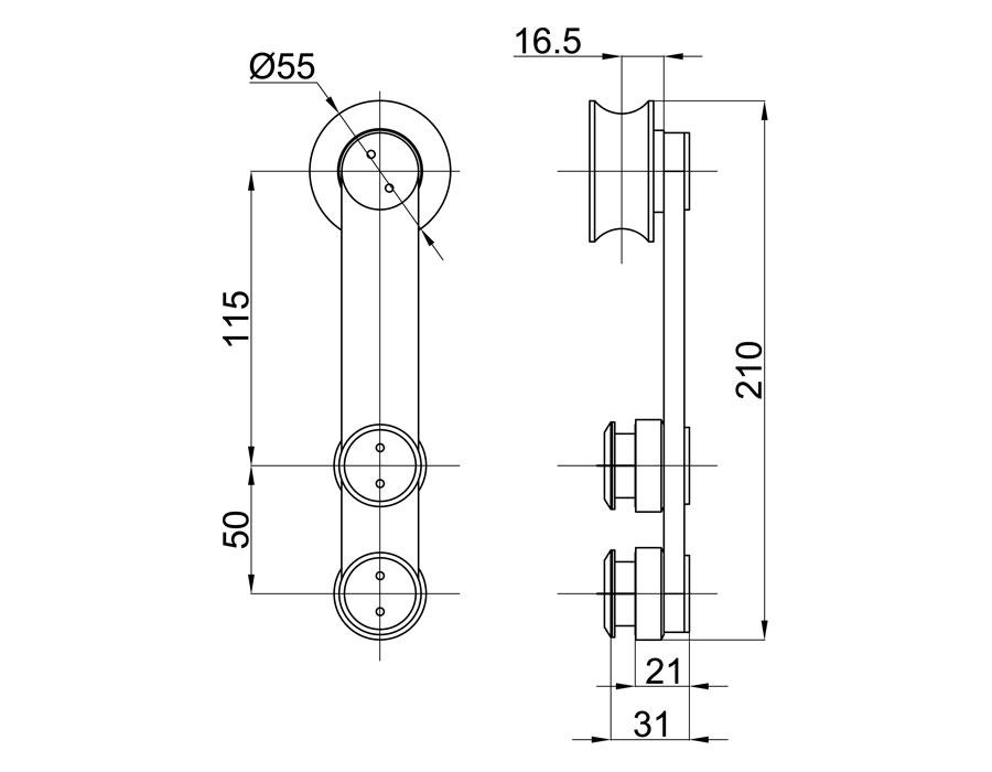 TB-810 А SSS Каретка плоская без зенковки