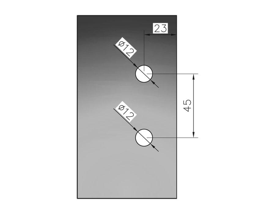 TI-86 B-2 SSS  Ответная часть на стекло для замка без притвора