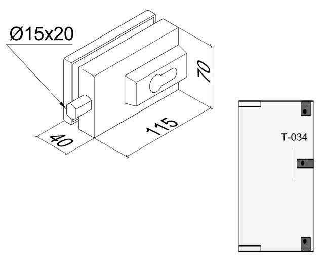T-034 TP Замок центральный/угловой с ответной частью на стену