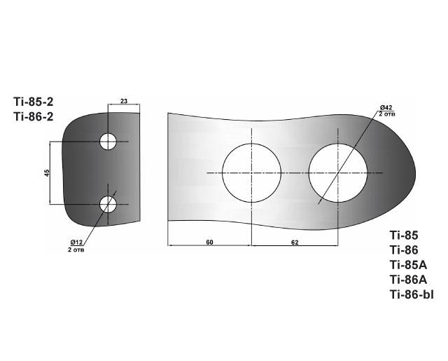 TI-86-2 TP  Ответная часть на стекло