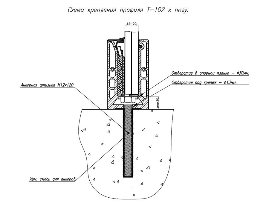 T-102 AL КОМПЛЕКТ (без анод) Профиль для стеклянных ограждений