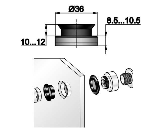 TT-502 SSS Точечное крепление регулируемое 8,5-11mm