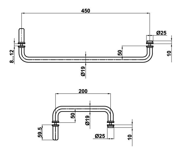 T-626 19х450x200 SSS Ручка комплект