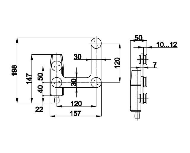 TB-740 SSS Фитинг угловой с осью под зенковку