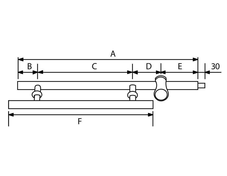 T-482A-1 25*320*290*600 SSS Ручка с замком горизонтальная (ключ + защелка)