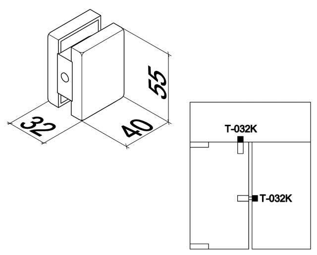 T-032К AL Ответная часть защелки на стекло