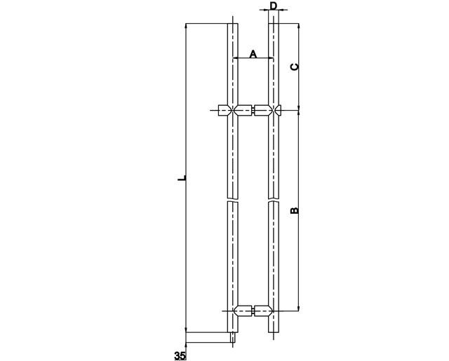 T-482-D1A 35х1500 SSS Ручка с замком (ключ + ключ)