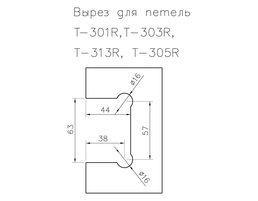 T-303R PC Петля стекло - стекло угол поворота 180 гр. с регулируемым 0 положением