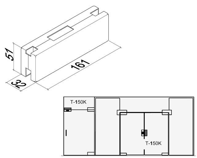 T-150K AL Ответная часть замка на стеклянную панель