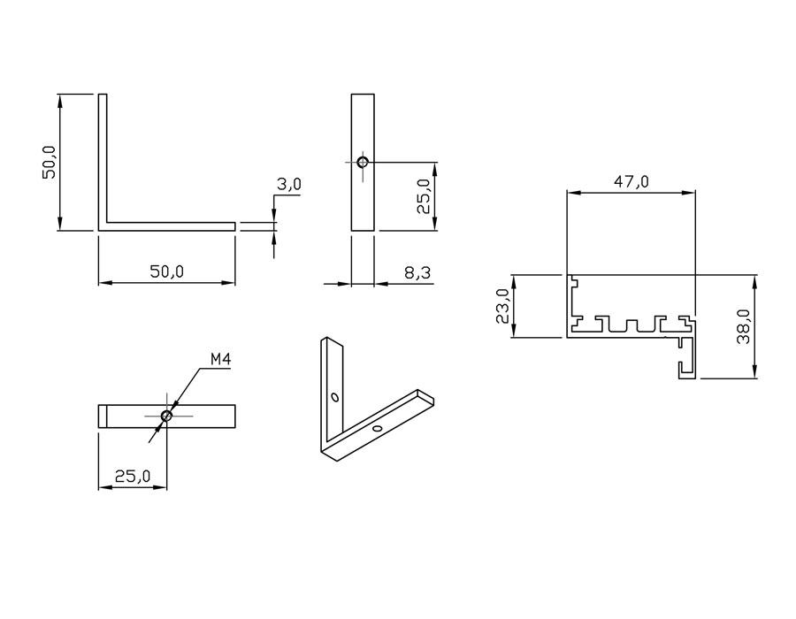 TI-802Н RAL 1035 (Бронза) Комплект AL (Z-обр.) дверной коробки с уплотнителем и уголками, L=6000mm