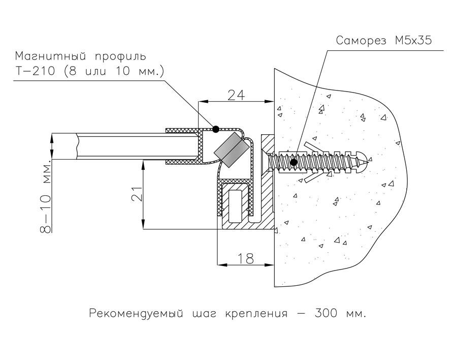 T-100 L=3000mm  Боковой профиль для душевых анод.