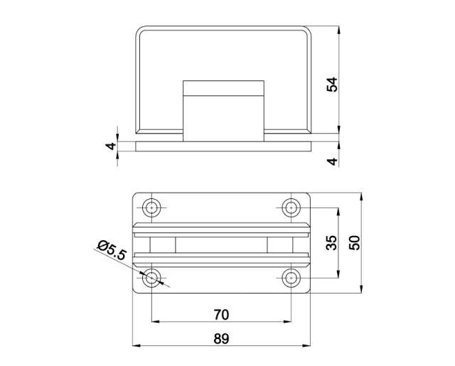 T-301 OBR Петля стена - стекло двустороннее крепл.
