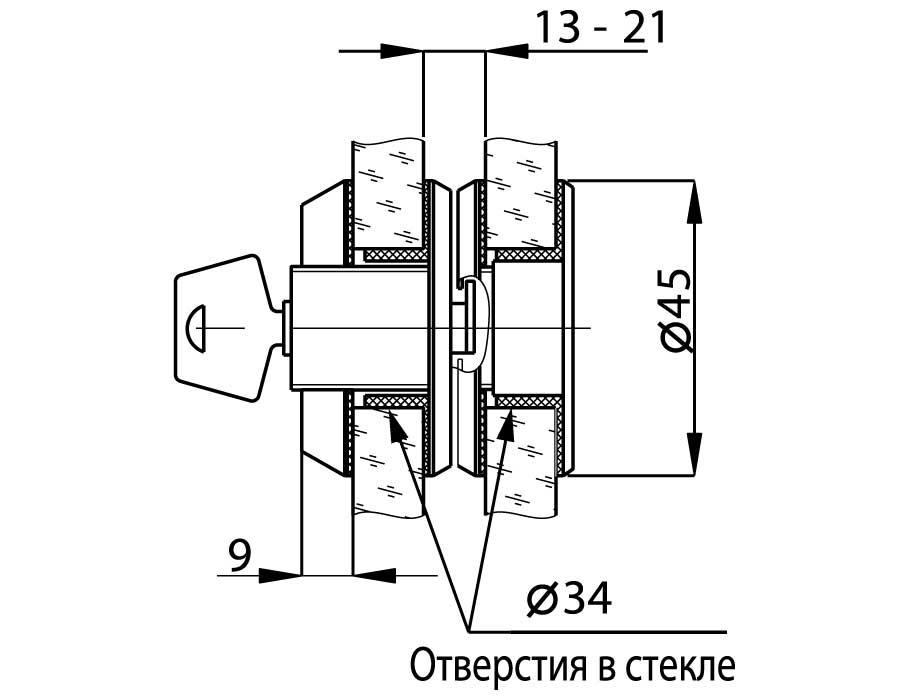 T-690 SSS Замок с ответной частью на стекло