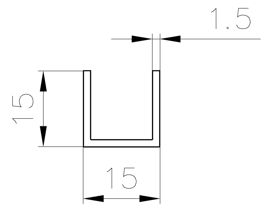 T-15 AL анод. Профиль п - образный 1,5mm