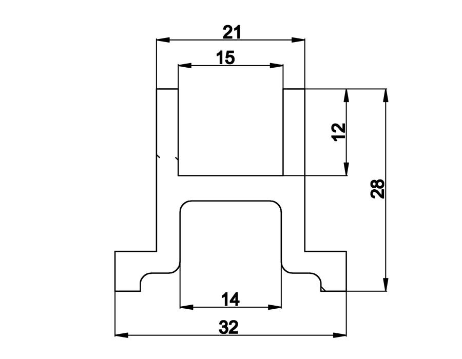 T-409 100mm Профиль опорный для профиля