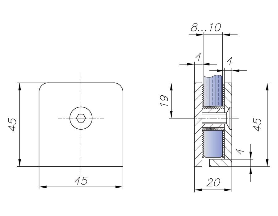 T-721 OBR Коннектор стекло - стена