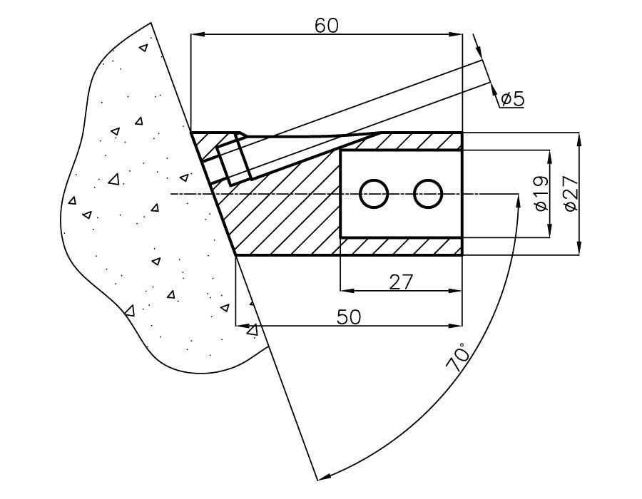 T-922 PC Соединитель труба - стена (под углом 70 градусов)