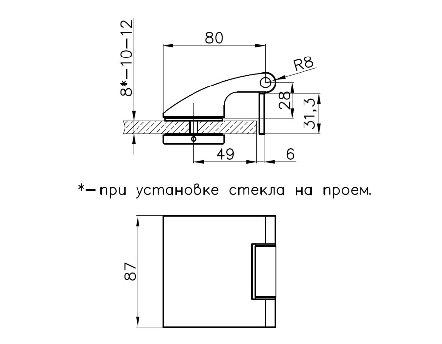 TI-81 AL Боковая петля (для установки на проем и в коробку)