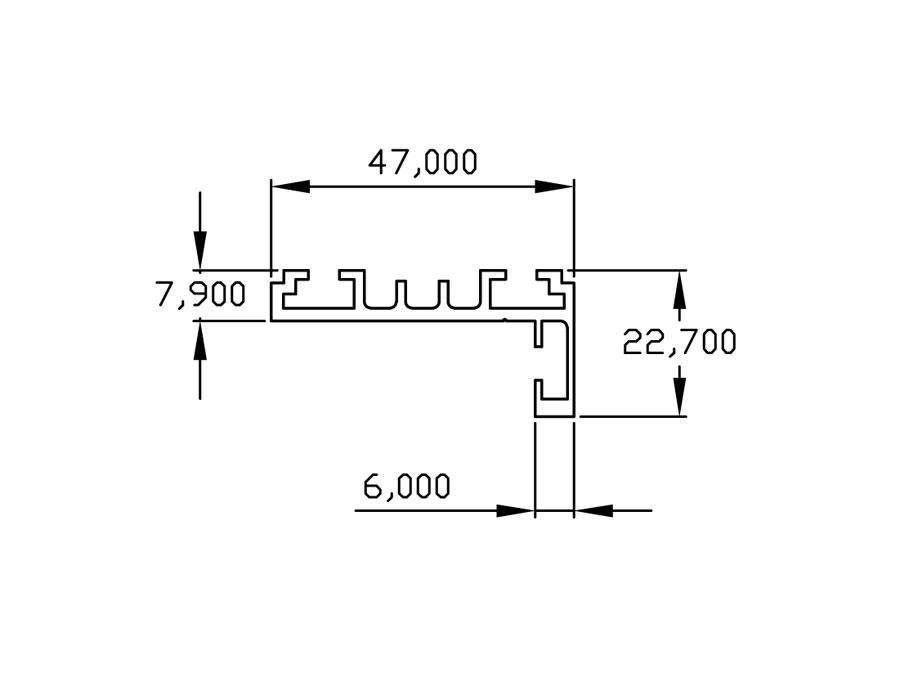 TI-801Н RAL 9005 (Черный) Комплект AL (L-обр.) дверной коробки с уплотнителем и уголками, L= 6000mm