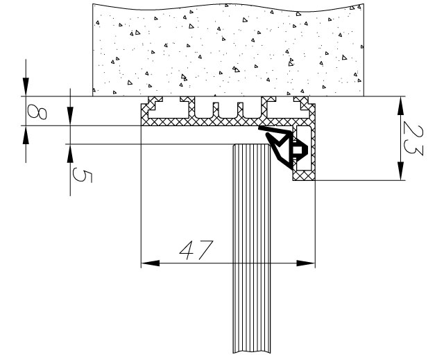 TI-801НКомплект AL (L-обр.) дверной коробки с уплотнителем и уголками, L= 6000mm