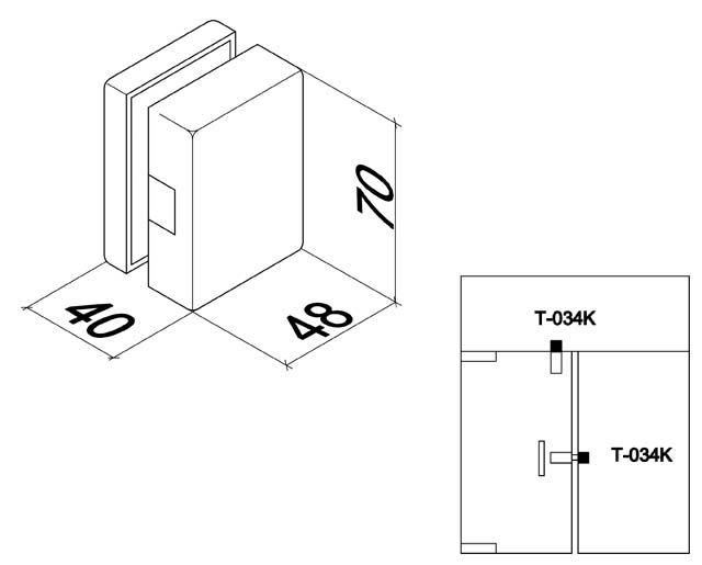T-034K AL Ответная часть замка на стекло