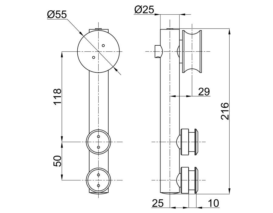 TB-815А SSS Каретка цилинрическая без зенковки