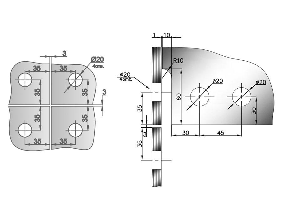 T-122A AL Коннектор большой на четыре панели
