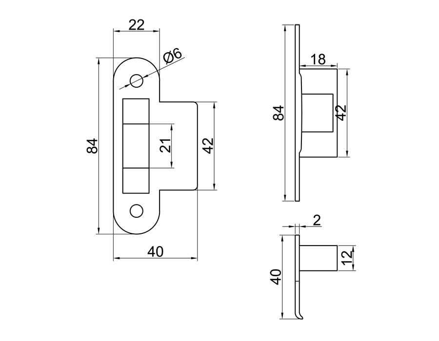 TI-87-1М WC AL (цвет Черный)  Ответная часть на стену  (Магнитная)