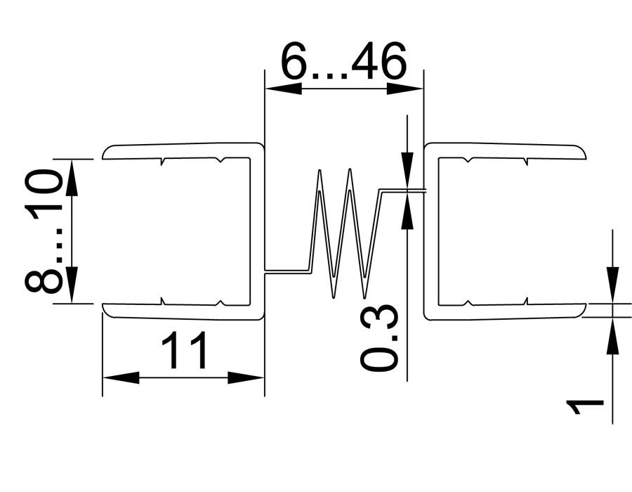 T-217 8mm Профиль на два стекла