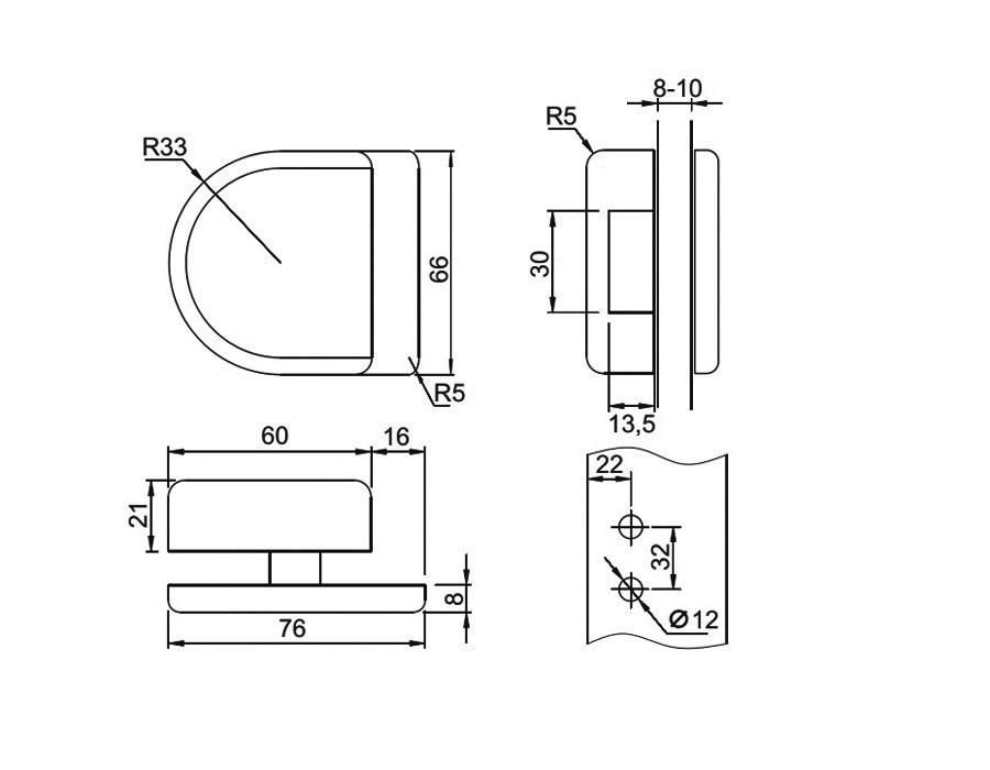 TI-860-2 AL (цвет под SSS) Ответная часть на стекло (для 850 и 860)