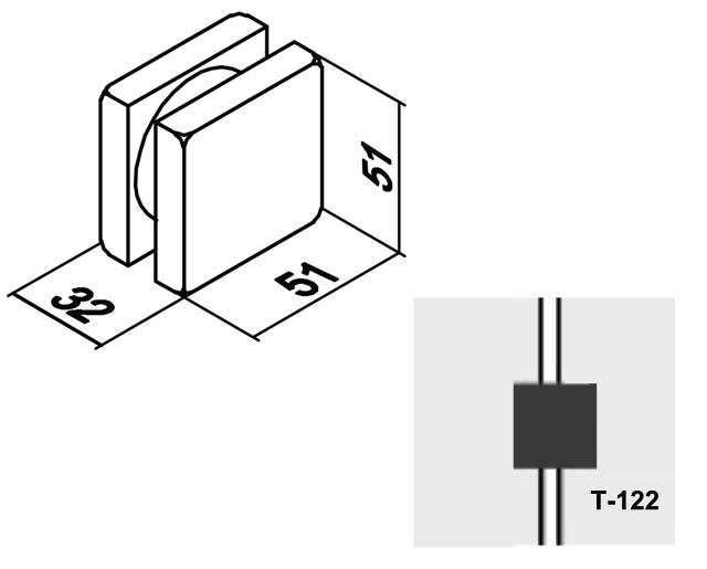 T-122 SSS Коннектор малый на две панели комплект