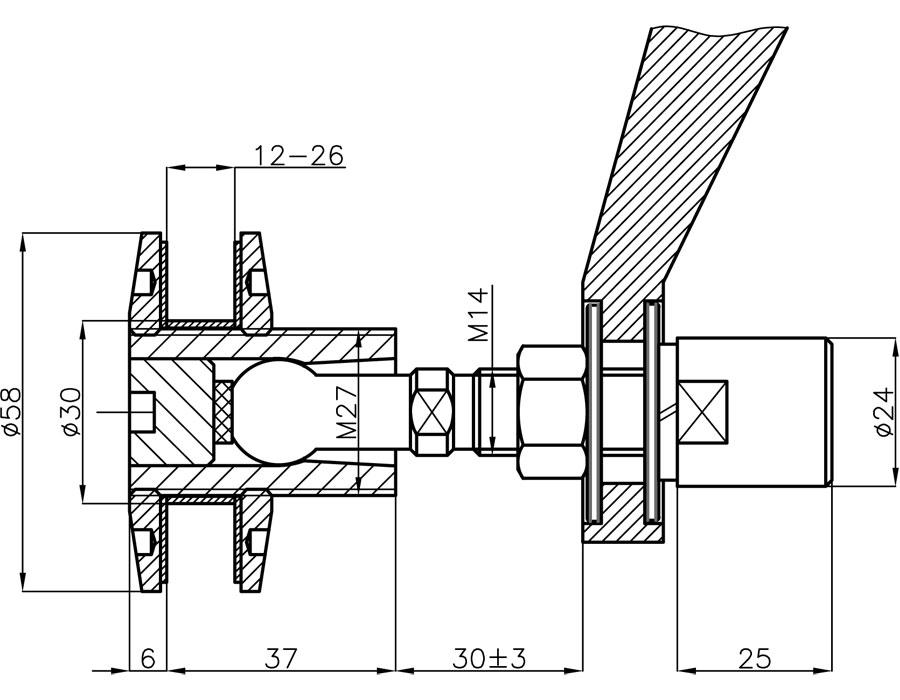 QPT-14-58-B SSS Крепление спайдера к стеклу