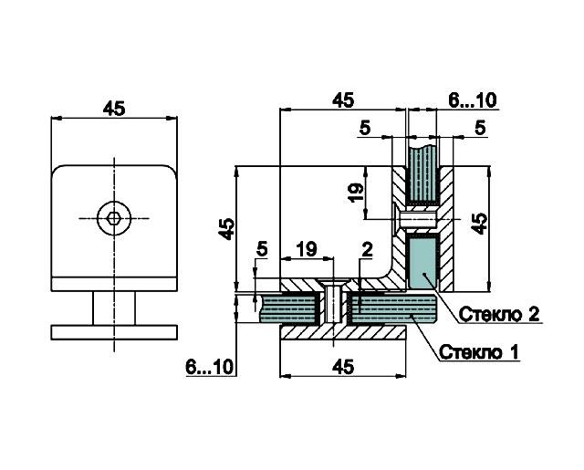T-725 PC Коннектор стекло - стекло 90 гр.