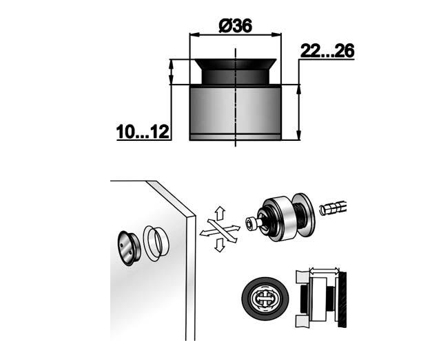 TT-507 SSS Точечное крепление регулируемое 22-26mm