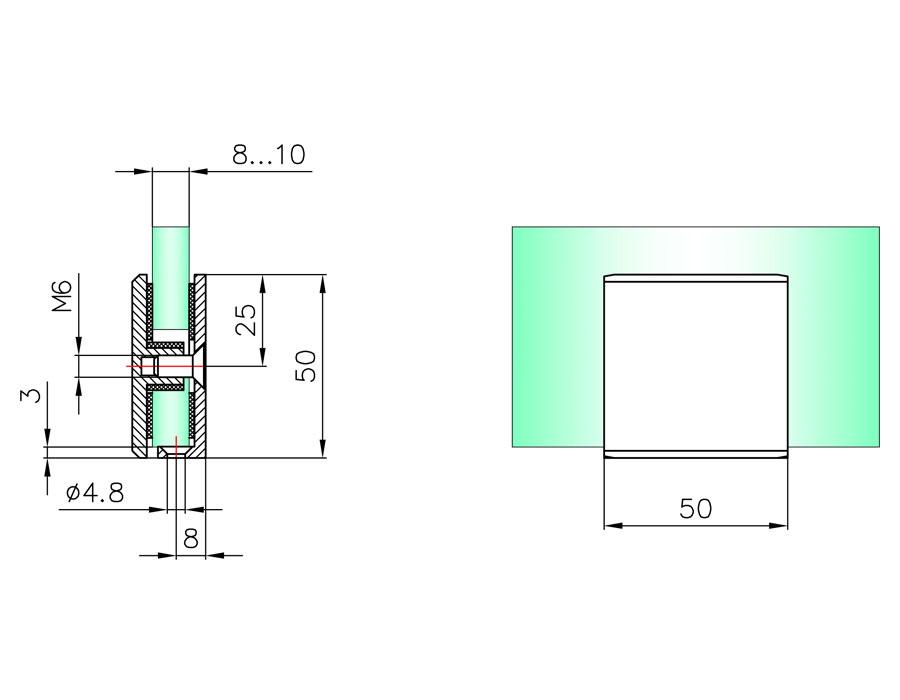 T-731S SC Коннектор стекло - стена