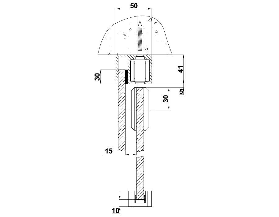 T-610 L=2000mm AL Трек алюминиевый с держателем неподвижной панели