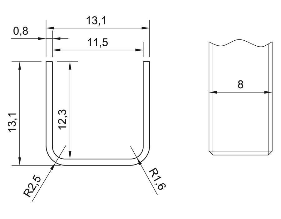 T-11A 8mm L=2500mm SSS Профиль п - образный для стекла (13х11,5х13)