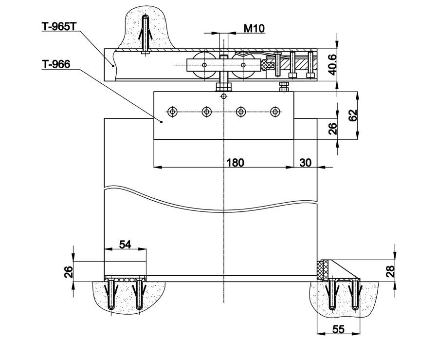 T-966 AL комплект на раздвижную дверь