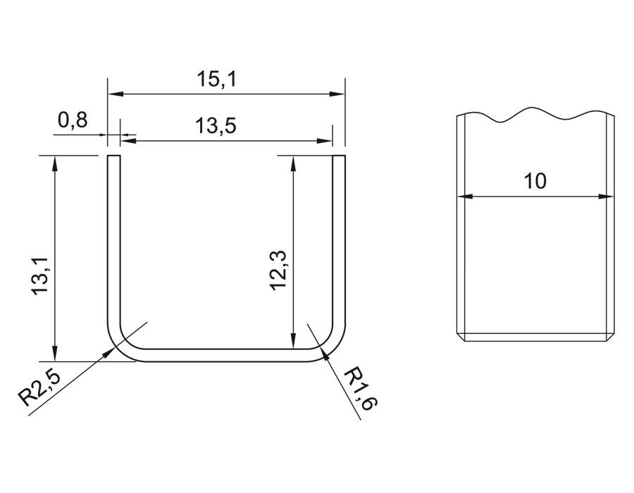 T-11A 10mm L=2500mm PSS Профиль п - образный для стекла (13х13,5х13)