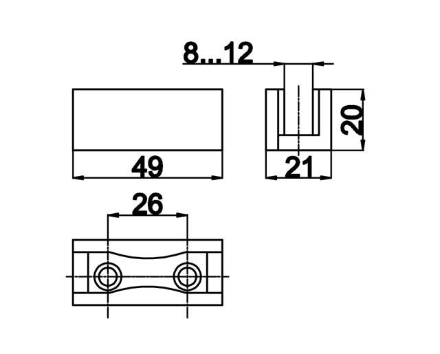 TB-834 Направляющая двери (черный пластик)